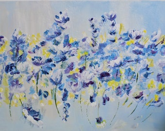 Dancing Blue Wild Flowers In The Meadow. Gift For Mother's Day.  Original Acrylic Art For all. Original canvas. Mother's Day Gift.