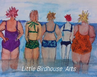 Bathing Belles Card by Little Birdhouse Arts Girlfriends Card. Card for wife. Card for best friend. Card for Sister. Humourous card. Sketch