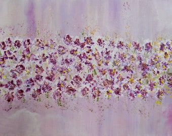 Dancing Small Wild Flowers In The Meadow. Gift For Mother's Day.  Original Acrylic Art For all. Original canvas. Mother's Day Gift.