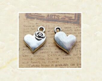 20//200pcs 14x11mm Antique Silver Rose Small Heart Tibetan Charms Pendants LF