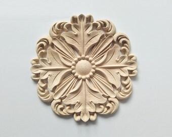 1 Piece Round Rosette Applique Shabby Chic Wood Embellishments Ornate Furniture Apliques Wood Onlay Furniture Trim Supplies WA017