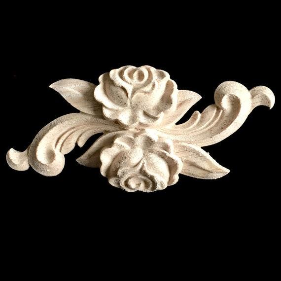1 Piece Shabby Chic Rose Wood Embellishments Ornate Furniture Apliques Wood  Onlay Furniture Trim Supplies WA035