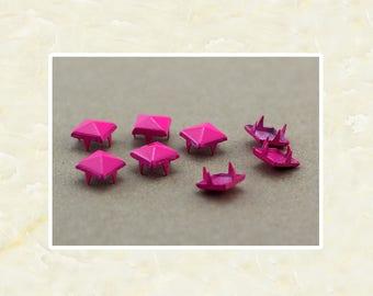 50PCS Rose Pink Pyramid Rivet Studs Metal Studs Rivets Studs Spikes Leather Craft Supplies MD022