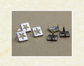 50PCS Silver Square Hollow Out Star Rivet Studs Metal Studs Rivets Studs Spikes Leather Craft Supplies MD027
