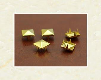 50PCS Gold Pyramid Rivet Studs Metal Studs Rivets Studs Spikes Leather Craft Supplies MD018
