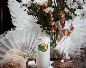 Obatala's Piece Custom Fixed Candle [Clarity - Healing - Limpia- Court Case - Harmony - Justice - Trae Limpia] - Santeria/Ifa/Yoruba