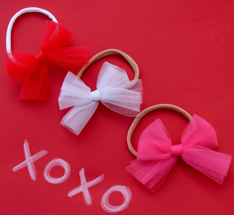 fc06145d9e07f Tulle Hair Bow Pink Tulle Bow Red Tulle Hair Bow White