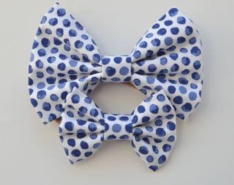 Blue Polka Dot Fabric Hair Bow - Girls Hair Clip Bow - Girls Hair Bow - Alligator Clip Bow - Baby Headbands - Nylon Headband