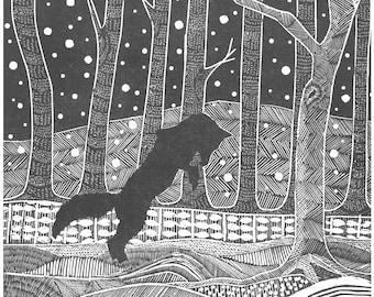 Wood Engraving 'Playful Fox'