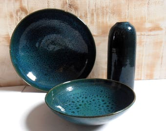 set ceramic blue Scandinavian vintage 1970s