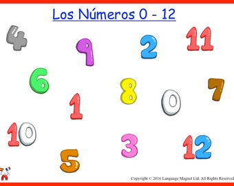 Spanish Numbers 0 to 12 Pronunciation/Revision Sheet with Audio