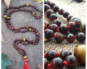 Japa Mala 6mm Falcon's eye and 10mm tiger's eye beads