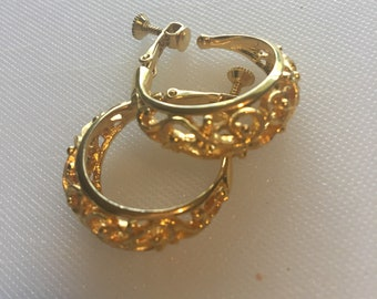 Napier Gold lace hoop earings