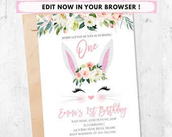 Bunny Birthday Invitation First Turning One 1st Flower Invite Party Spring Printable