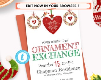 editable ornament exchange invitation christmas party invite etsy