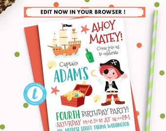 pirate birthday party invitation template editable pirate etsy
