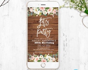 Electronic Birthday Invitation Editable Invitations Iphone Date Sms Templett