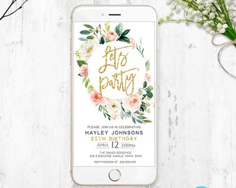 Electronic Birthday Invitation Invite Digital Invitations Iphone Announcement InviteText InvitationSms