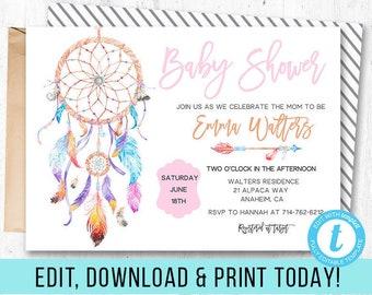 Bohemian babyshower invitations, Boho babyshower, Printable babyshower, Boho baby shower, Dreamcatcher party, Boho invitation, Boho chic