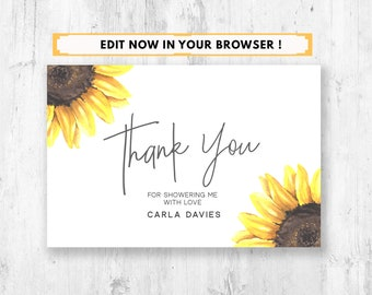 Sunflowers Personalised Wedding Thank You Cards