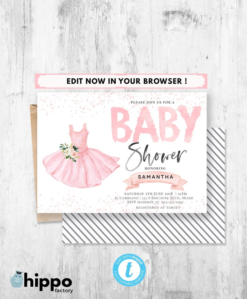 Ballerina Baby Shower Invitation Tutu Printable Theme Ballet Invite Pink Pastel