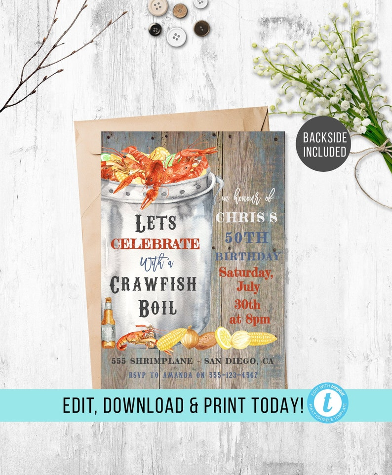 photograph about Crawfish Boil Invitations Free Printable titled Crawfish Boil Invitation, Printable Seafood Boil Invite, Lobster Invitation, Editable Crawfish and Beer Template, Minimal Nation Boil, Cajun