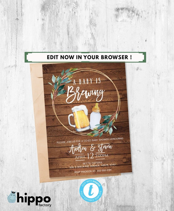 Baby Is Brewing Invitation Invitation Co Ed Baby Edit Yourself Online Invite Coed Baby Shower Printable Diy Editable Baby Shower Coed