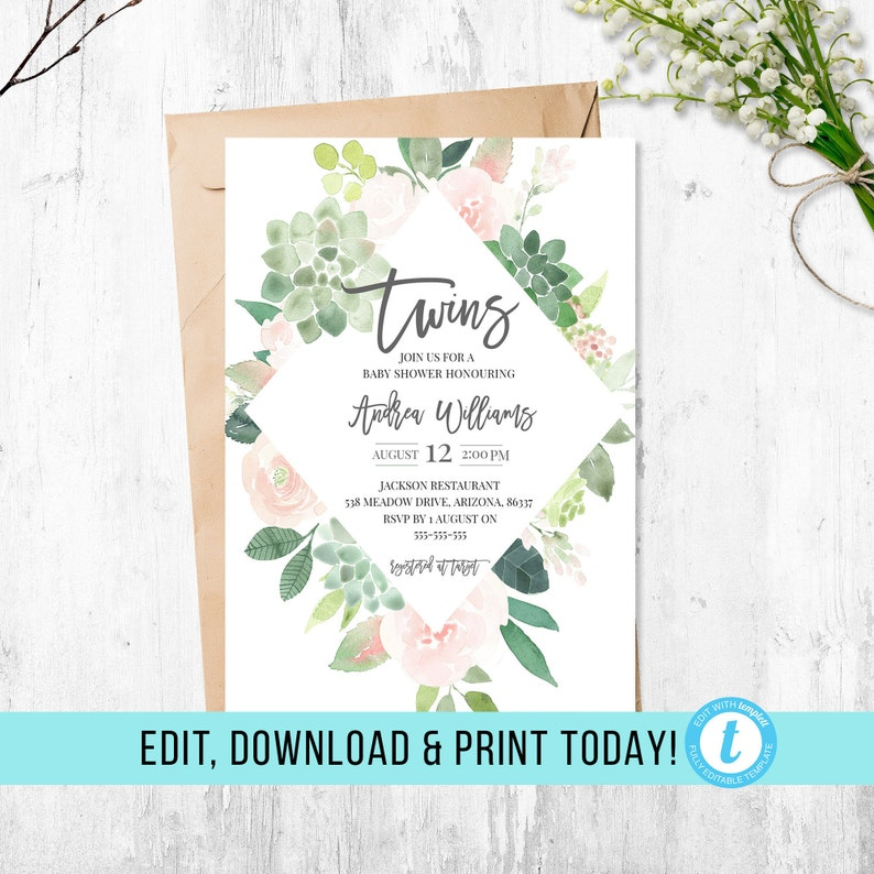 Twins Baby Shower Invitation Boy And Girl Boy And Girl Twins It S Twins Editable Invitation Invitation Template Greenery Digital File
