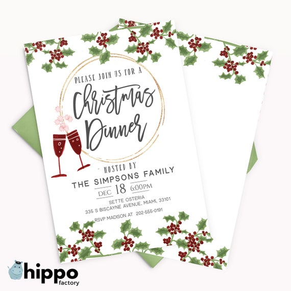 Editable Christmas Dinner Party Invitation Work Christmas Party Template Christmas Gathering Invites Printable Xmas Dinner Invite Cp26