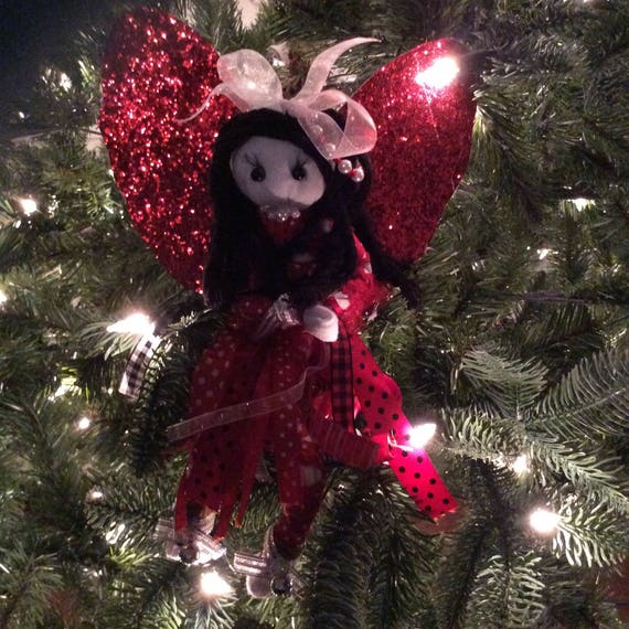 Red Angel For Christmas Tree Christmas Angel Tree Topper Red Angel With Black Hair Tree Topper Glitter Winged Angel For Tree