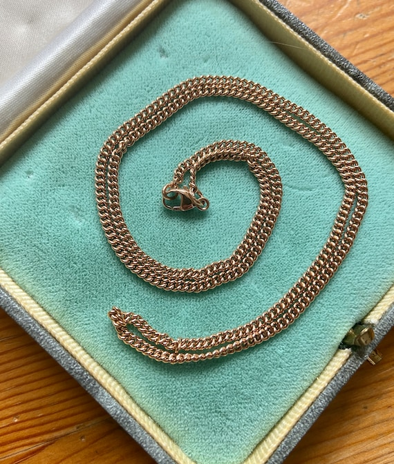 "Vintage solid 9k rose gold curb-link 18"" chain nec"