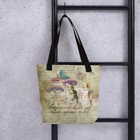 Alice In Wonderland Tote Bag Alice in Wonderland Quote Sometimes I/'ve Believed Alice In Wonderland Book Bag Shopping Tote Back To School
