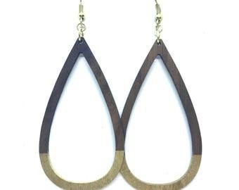 Walnut Wood Teardrop Hoop Gold Dipped Earrings
