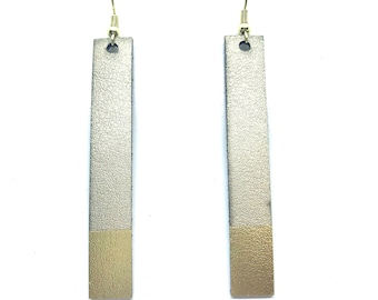 Leather Bar Gold Dipped Earrings