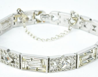 Vintage Art Deco Rhinestone Bracelet Rhodium Plate Silver Crystal Rhinestone Link Bracelet with Safety Chain