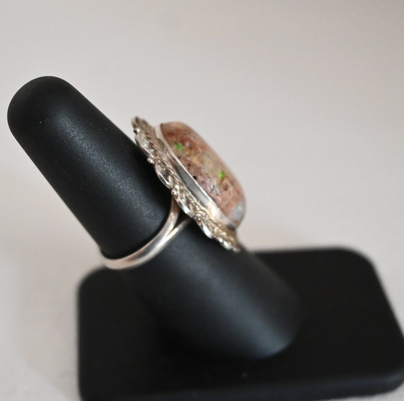 Stunning LARGE Jasper /& Sterling Ring size 6 Vintage 5.7 grams 1 18 inches long Beautiful gem Taxco Mexico