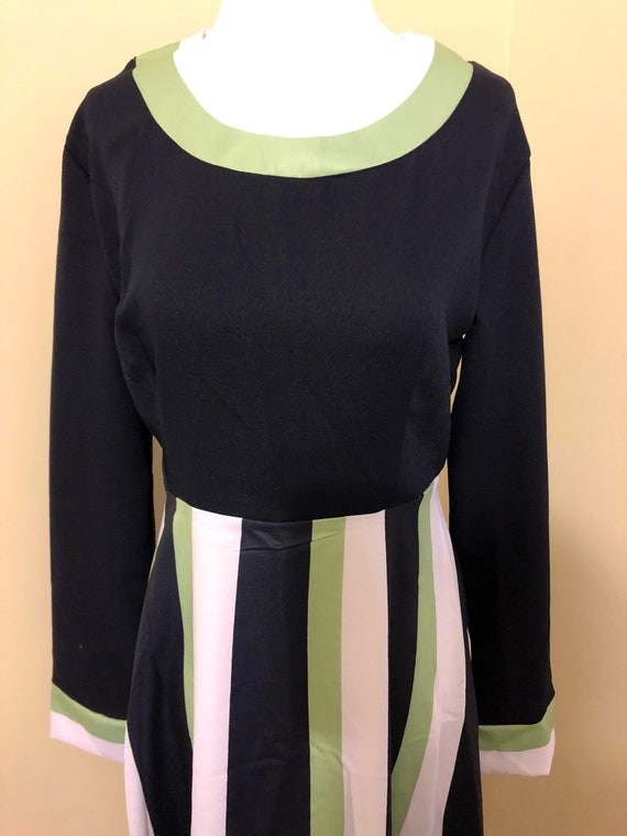 Flirty Vintage A-Line 50s Mod Striped Blue, Seafoa