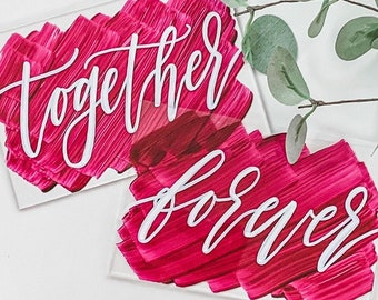 Better + Together Bride And Groom Place Card Set [Burgundy & White]