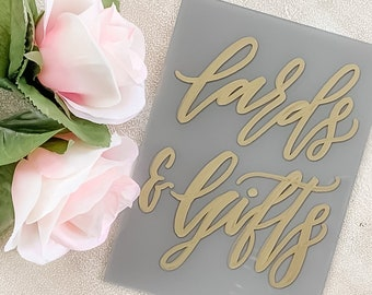 Ready To Ship | Cards And Gifts Acrylic Wedding Sign [Gold + Gray]