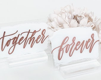 Together + Forever Bride And Groom Place Card Set [White & Rose Gold]
