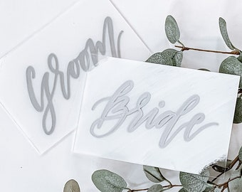 Bride + Groom Place Card Set [White & Silver]