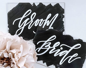 Bride + Groom Place Card Set [Charcoal Gray & White]