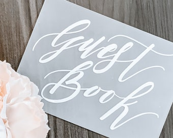 Wedding Guest Book Sign [Frosted Acrylic + White]