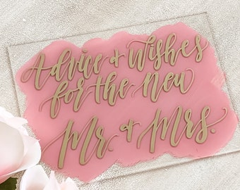 Advice & Wishes For The New Mr And Mrs Acrylic Wedding Sign [Gold / Dusty Rose]