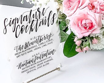 """Signature Cocktails"" Wedding Sign"