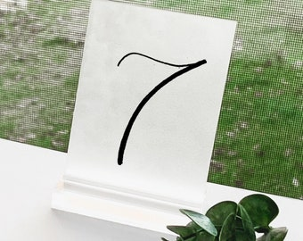 Frosted Acrylic Wedding Table Numbers [Tall]
