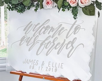 """Welcome To Our Forever"" Wedding Welcome Sign"