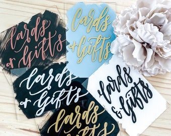 Cards And Gifts Acrylic Wedding Sign [5 Color Options Available]