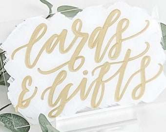 Cards & Gifts Sign [White + Gold]