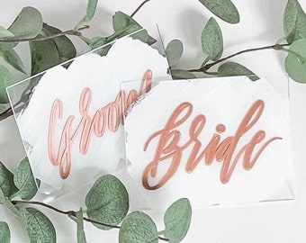 Bride + Groom Place Card Set [White & Rose Gold]